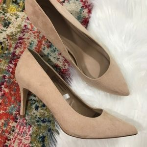 A New Day • Micro Suede Nude Kitten Heels